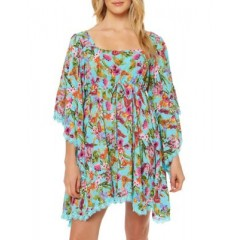Jessica Simpson - Floral Squareneck Coverup Women's Swimwear Cover-ups 1W7gALfWG68Yw9