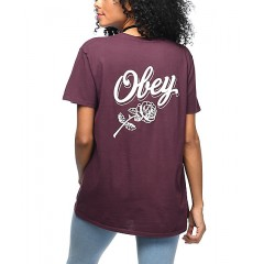 Obey Careless Whispers Burgundy Classic T-Shirt Women's Graphic Tee Discount Wholesale Emr3yU5rmZtOLr
