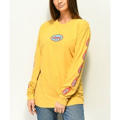 Obey Creeper Flame Dusty Yellow Long Sleeve T-Shirt Women's Graphic Tee Cheap Sales 1M15XaOcKREo4S