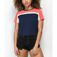 Zine Summer Navy & Coral T-Shirt Women's Graphic Tee Discount Wholesale 4S2FcFxoTyasLn